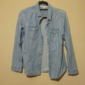 Loft softened chambray denim button down